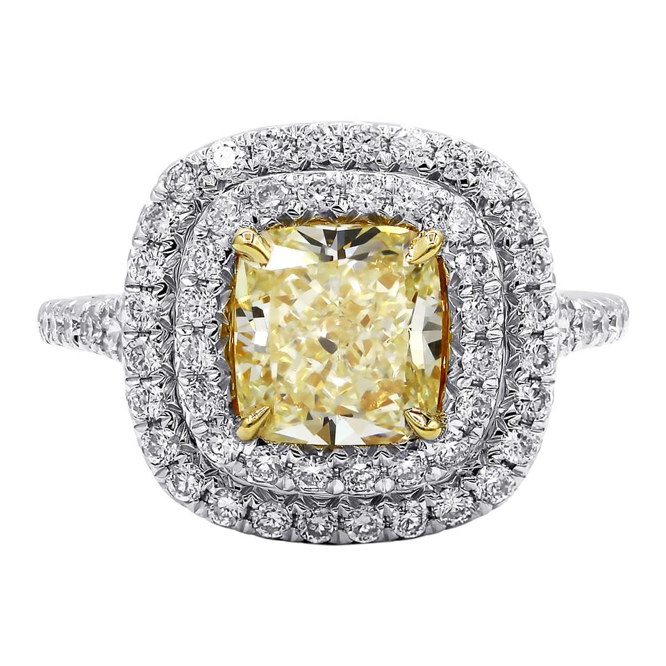 0e8e46727b3da Double Halo 2.01 Carat Fancy Yellow Diamond Engagement Ring 49% off retail