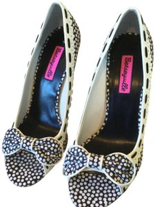 Betseyville by Betsey Johnson Heels Heels Polka Dot Polka Dot Heels black white Pumps