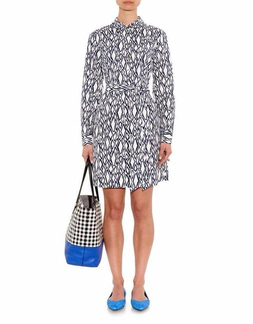 Preload https://img-static.tradesy.com/item/23059432/diane-von-furstenberg-white-navy-blue-dvf-taffy-shirtdress-with-belt-ikat-stamp-print-short-casual-d-0-0-650-650.jpg