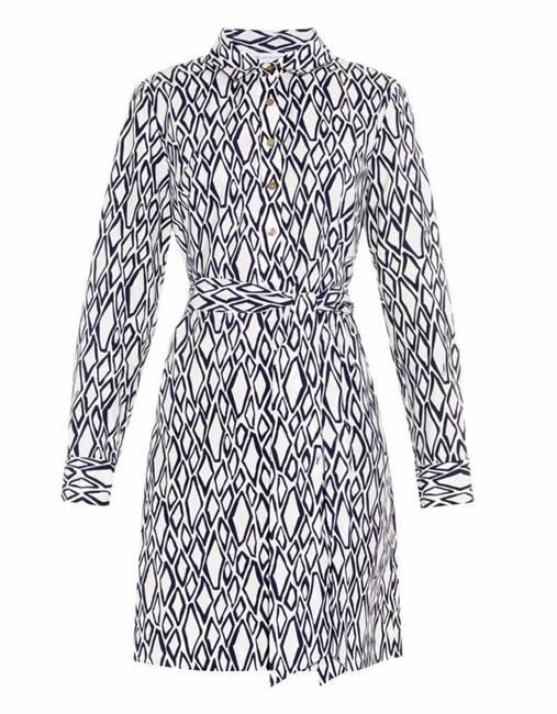 Diane von Furstenberg short dress White. Navy Blue Dvf Combo Bey Snake Date Night on Tradesy Image 8