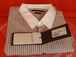 Gucci Multi-color/Taupe /Blashed Tea Rose Striped Cotton Button Classic Fit Dress 18 46 368680 Shirt