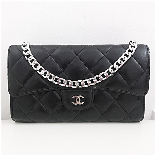3298f108e9cb Chanel Classic Flap Wallet with Chain Added Black Lambskin Leather Clutch -  Tradesy