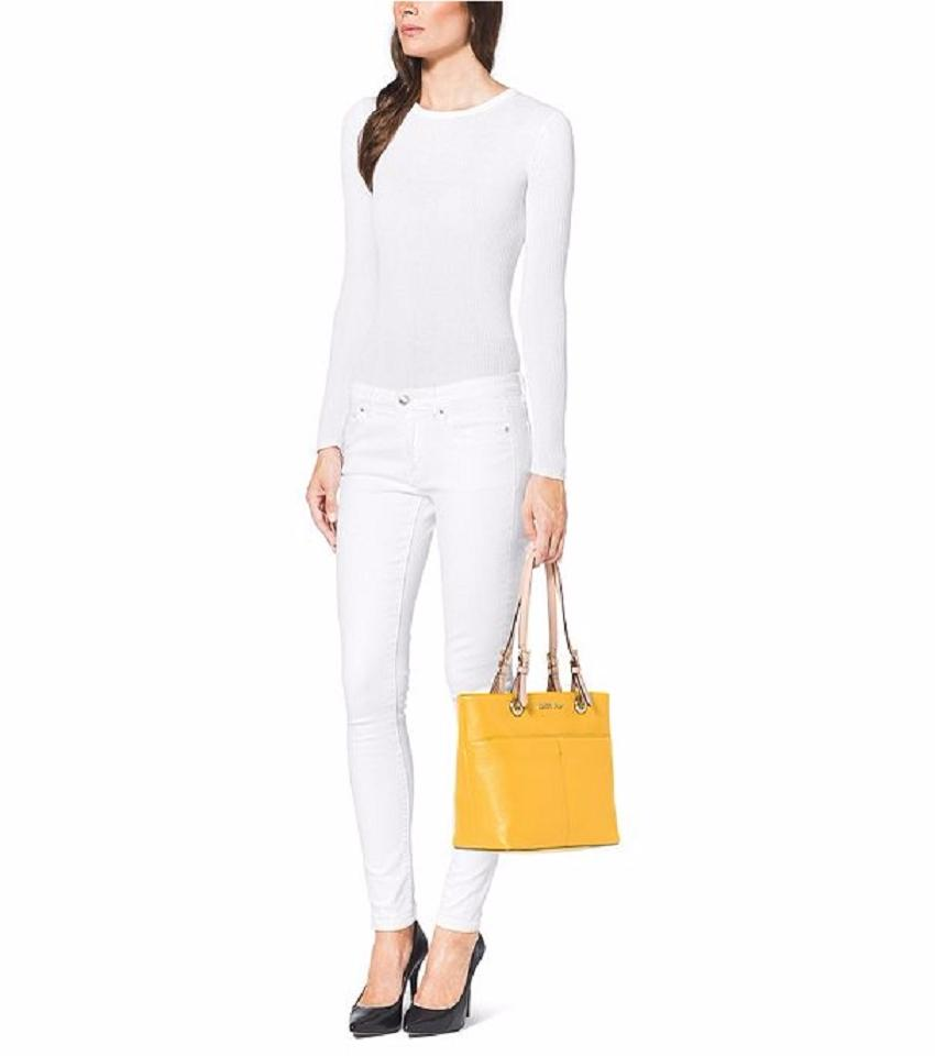 9ea1fa9c0029 MICHAEL Michael Kors Bedford Leather Pocket Yellow Tote in Sunflower Image  0 ...