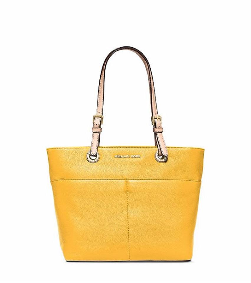 13ec9ef3eff MICHAEL Michael Kors Bedford Leather Pocket Yellow Tote in Sunflower.  12345678