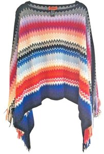 Missoni Made In Italy Comfy Wool Blend Soft + Breezy Vibrant Colors Swingy + Fun Cape