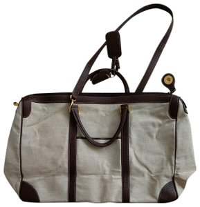 a4d1932ad6af Battistoni Light Leather Luxury Made In Italy Beige and Brown Canvas Weekend  Travel Bag