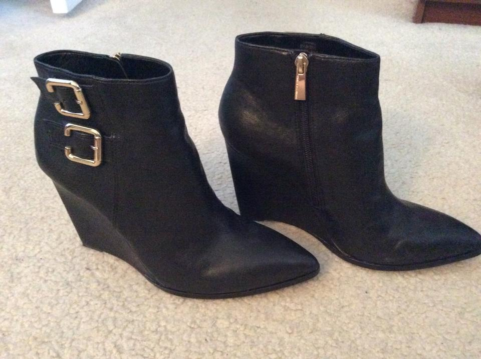 Vince Camuto Black Leather Buckles with Gold Buckles Leather Boots/Booties 6c2eac