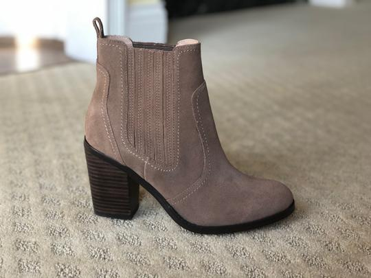 Sole Society New Suede Block Heel Brown taupe Boots Image 6