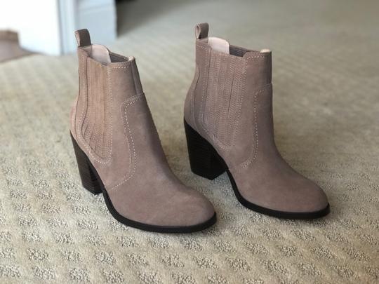 Sole Society New Suede Block Heel Brown taupe Boots Image 8