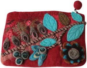 Rising Tide Made In Nepal Dark Handcrafted Deep Red and Turquoise Clutch