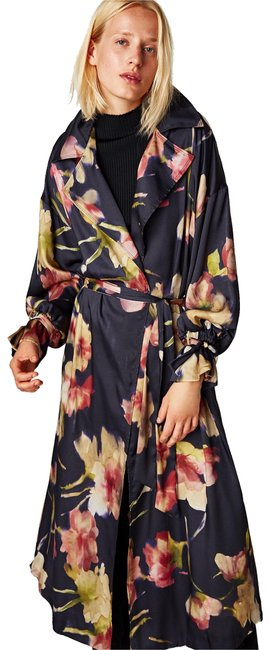 Item - Blue Oversized Satin Long Floral Duster Coat Size 6 (S)