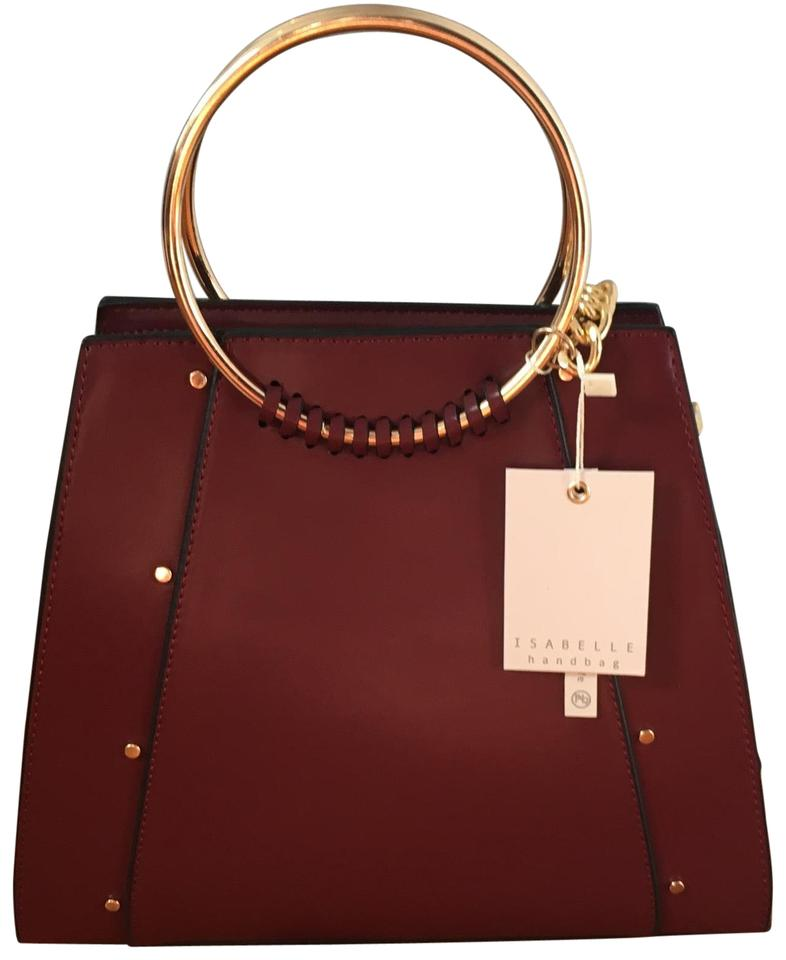 d5f5acaf4266 With Gold Details Burgundy Vegan Leather Satchel - Tradesy