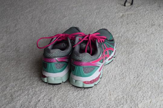 Asics Running Gray/Pink/Teal Athletic Image 1