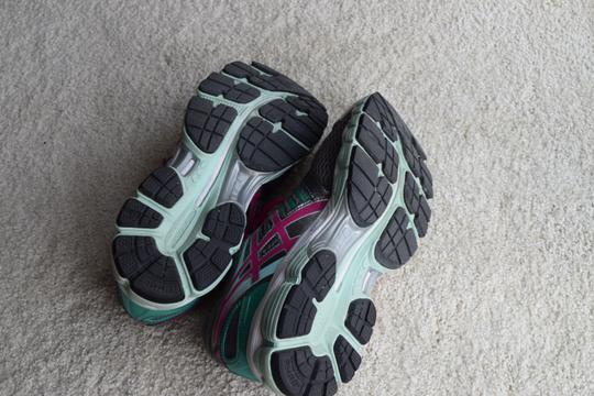 Asics Running Gray/Pink/Teal Athletic Image 3