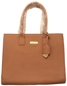 Joy & IMAN Laptop Satchel Shoulder Weekend/Travel New Tote in Brown Tan Gold