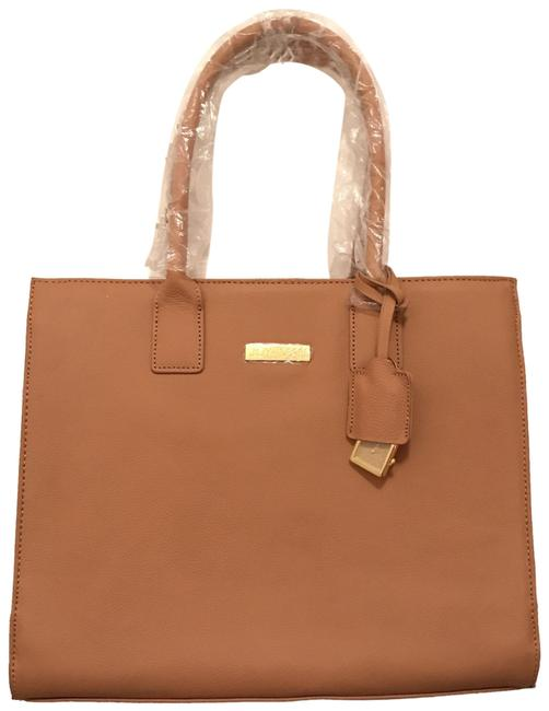 Item - Nwot Hollywood Glamour Brown Tan Gold Leather Tote