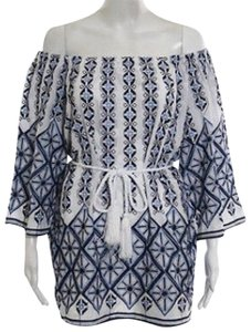 Miguelina short dress blue and white Open Shoulder Festival Embroidered Boho Party on Tradesy