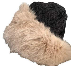 Genuine fur and knit hat! genuine fur fox