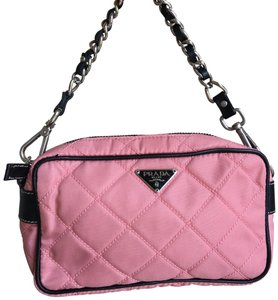7c04bafb4573 Added to Shopping Bag. Prada pink Clutch. Prada Nylon with Leather Trimmed  Quilted ...