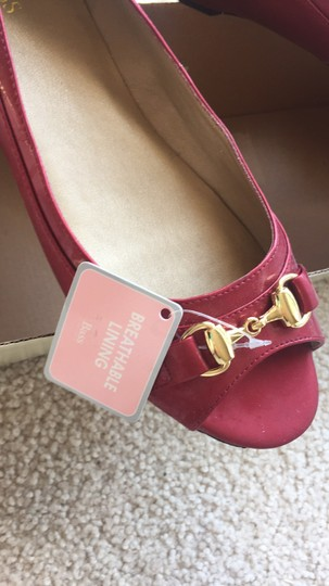 Bass Patent Leather Peep Toe Buckle Red, Gold Flats Image 1