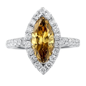 Exquisite Fancy Yellow-brown Diamond Engagement Ring
