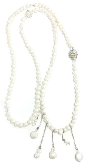 Preload https://img-static.tradesy.com/item/23060307/white-pearl-wrap-with-crystal-skull-necklace-0-0-540-540.jpg
