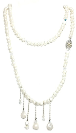 Kinley Pearl Wrap Kinley Necklace with Crystal Skull Image 2