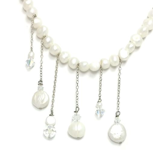 Kinley Pearl Wrap Kinley Necklace with Crystal Skull Image 3