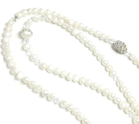 Kinley Pearl Wrap Kinley Necklace with Crystal Skull Image 4