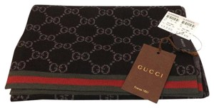 Gucci GUCCISSIMA GG REVERSIBLE BLACK GRAY WEB STRIPS WOOL 70X10 SCARF 325806
