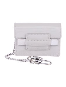 Delvaux NWOT Delvaux Dove Gray Patent Leather Madame PM Key Ring Pouch