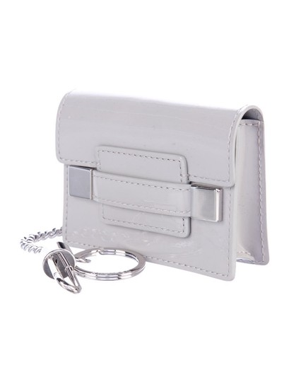 Delvaux NWOT Delvaux Dove Gray Patent Leather Madame PM Key Ring Pouch Image 1