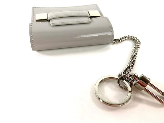 Delvaux NWOT Delvaux Dove Gray Patent Leather Madame PM Key Ring Pouch Image 4