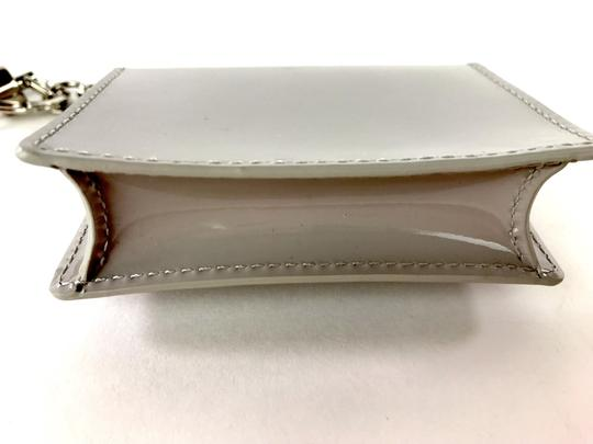 Delvaux NWOT Delvaux Dove Gray Patent Leather Madame PM Key Ring Pouch Image 5