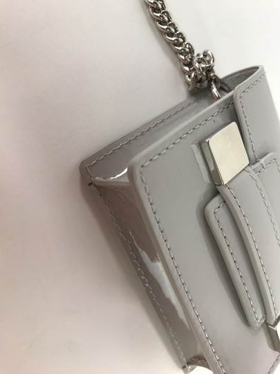 Delvaux NWOT Delvaux Dove Gray Patent Leather Madame PM Key Ring Pouch Image 9