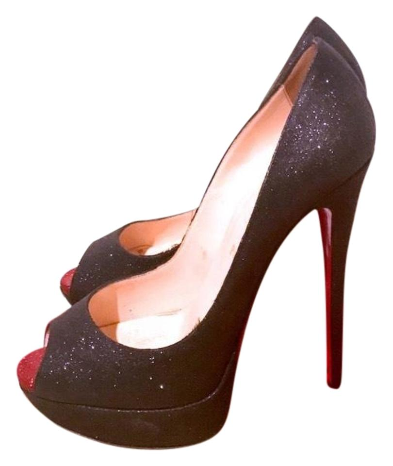 Christian Louboutin Black Platforms Glitter Lady Peep 150 Platforms Black 0ed63a