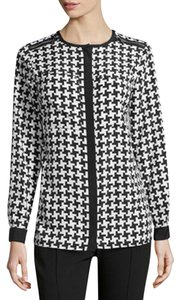 Michael Kors Blouses Zipper Houndestooth Button Down Shirt Black and White