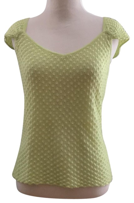 Preload https://img-static.tradesy.com/item/23060606/lime-green-cashmere-silk-knit-gathered-sleeve-blouse-size-4-s-0-1-650-650.jpg