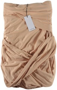 Carven Strapless Draped Gathered Top Apricot
