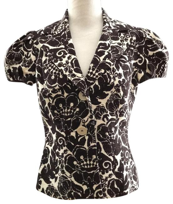 Preload https://img-static.tradesy.com/item/23060848/trina-turk-brown-cream-print-short-sleeve-floral-blazer-with-puff-sleeves-button-down-top-size-6-s-0-1-650-650.jpg