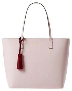 Kate Spade Leather Large Leather Tassel Smooth Leather Work Tote in Pink