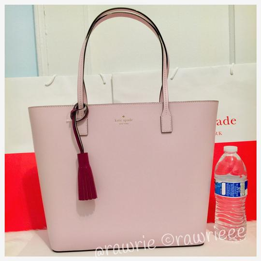 Kate Spade Leather Large Leather Tassel Smooth Leather Work Tote in Pink Image 1