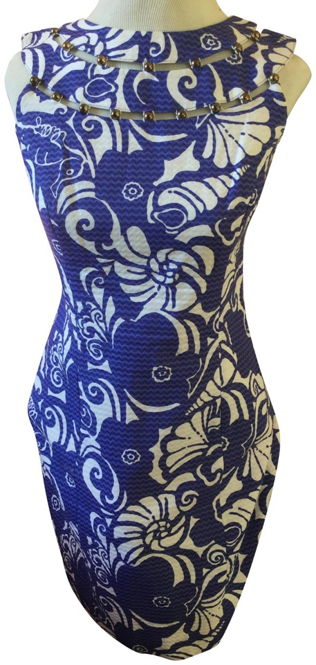 9d424d909fcc Lilly Pulitzer Blue White Floral Printed Circular Cutout Work Office Dress