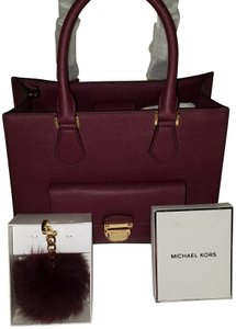 6942959a67fb33 Michael Kors Bridgette Red Saffiano Leather Furry Key Chain Tote in Plum