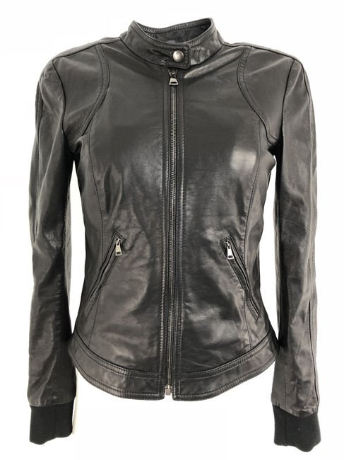 Item - Black Moto Zip Front Jacket Size 4 (S)