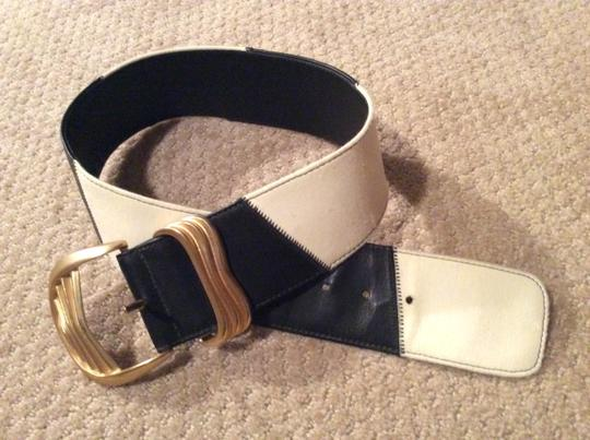 Alan Howard ALAN HOWARD Black & White Leather Belt with Heavy Gold Buckle Image 1