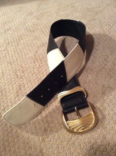 Alan Howard ALAN HOWARD Black & White Leather Belt with Heavy Gold Buckle Image 3
