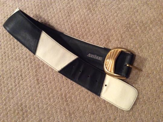 Alan Howard ALAN HOWARD Black & White Leather Belt with Heavy Gold Buckle Image 5