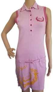 Pink, Yellow Maxi Dress by Dior Sundress Embroidered Logo Monogram Diorissimo