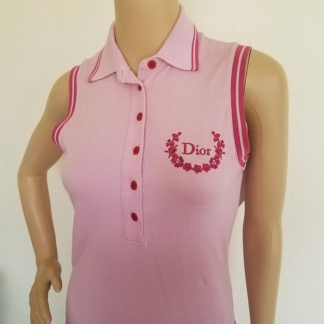 Pink, Yellow Maxi Dress by Dior Sundress Embroidered Logo Monogram Diorissimo Image 3
